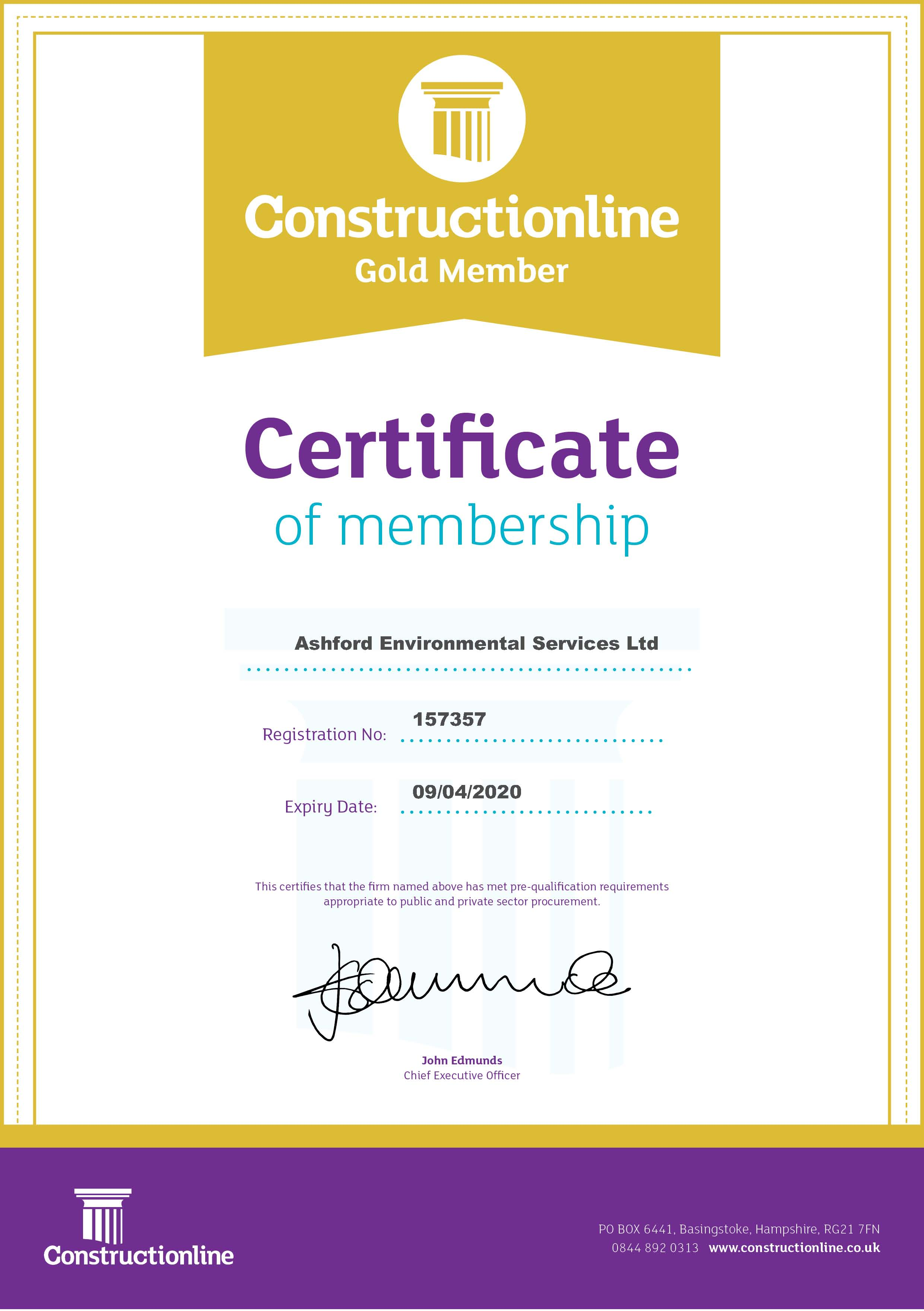 AES Constructionline Gold Certificate May 2019