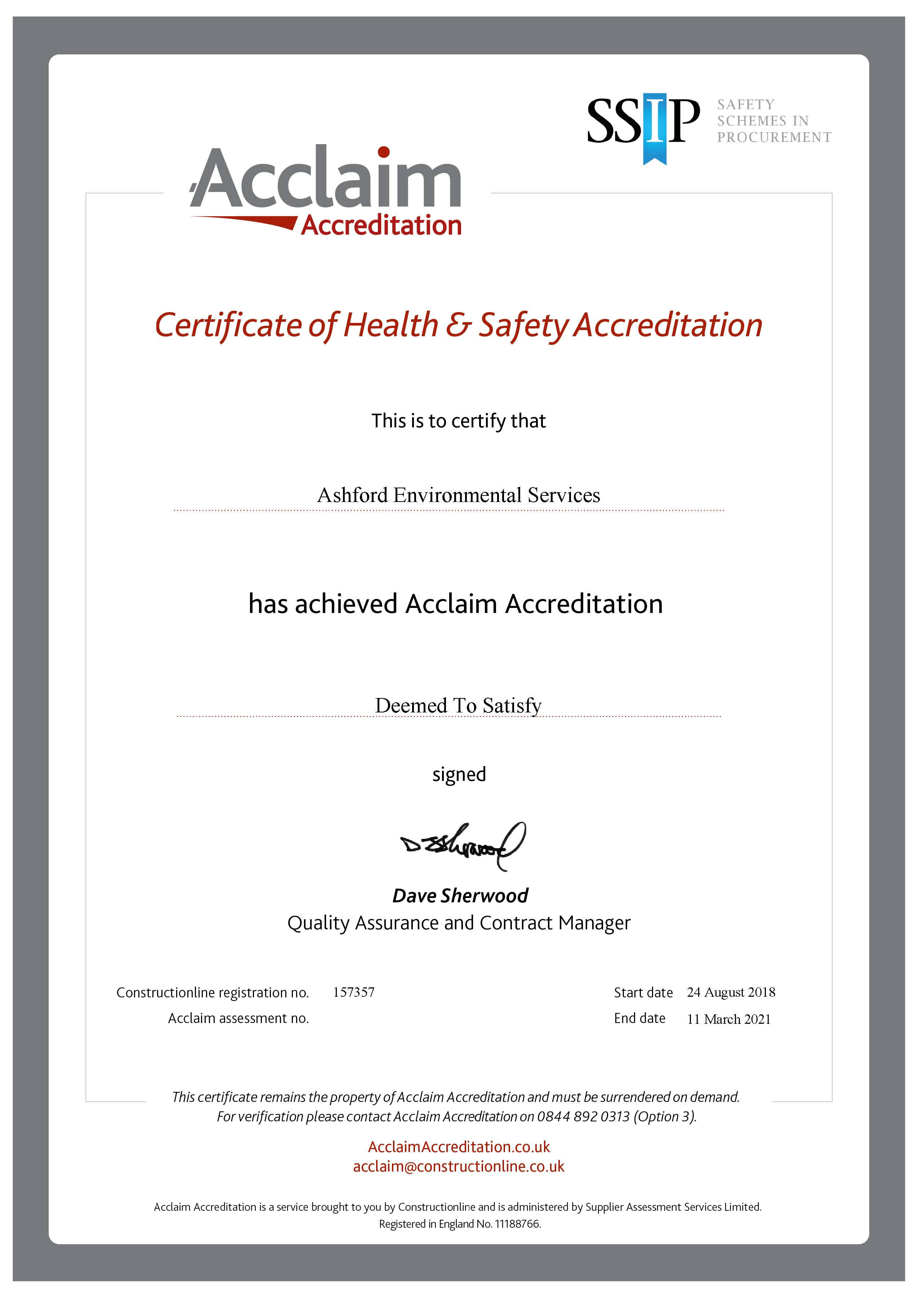 Acclaim Certificate Expiry March 2021