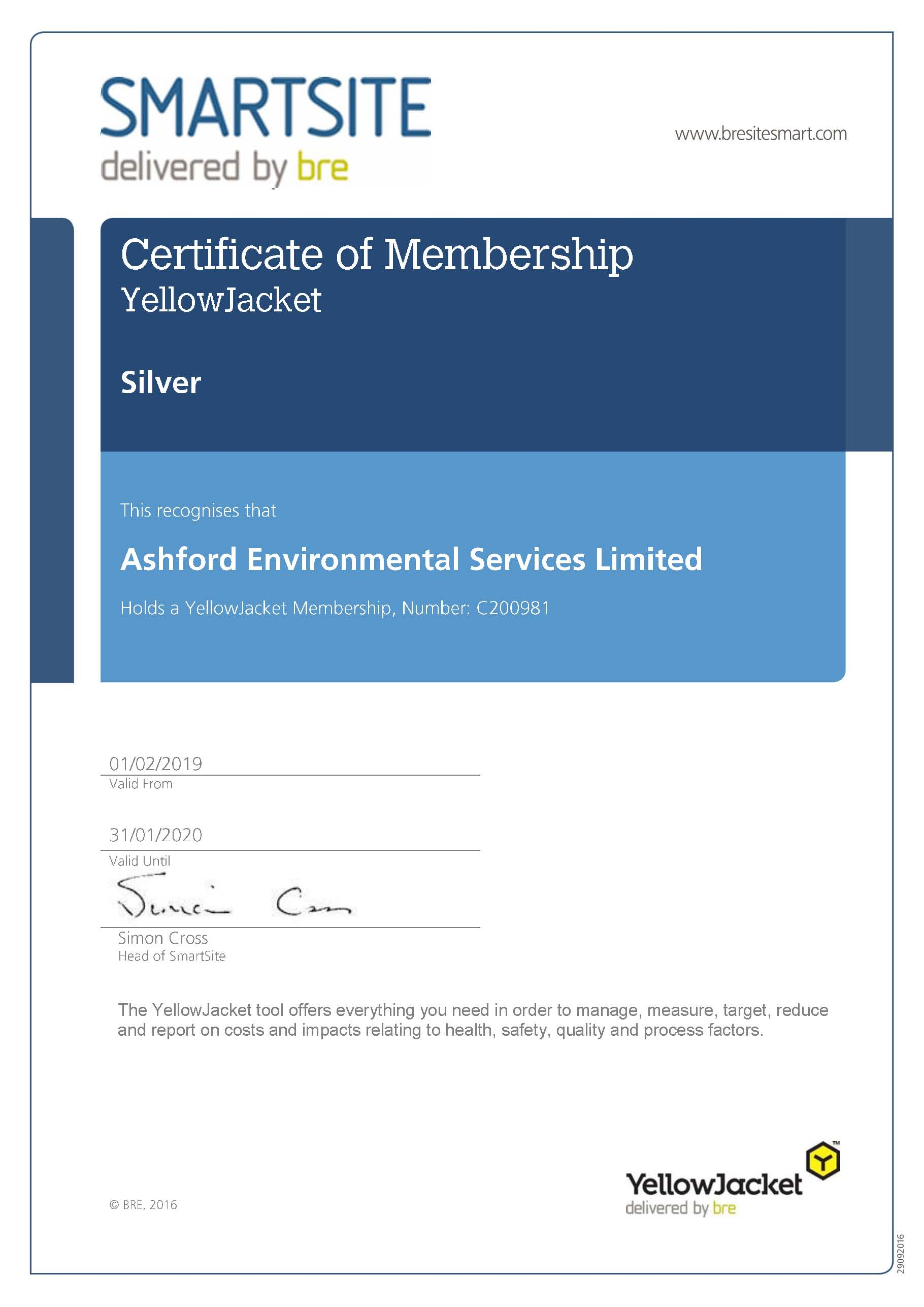 Ashford YellowJacket Membership Certificate 19