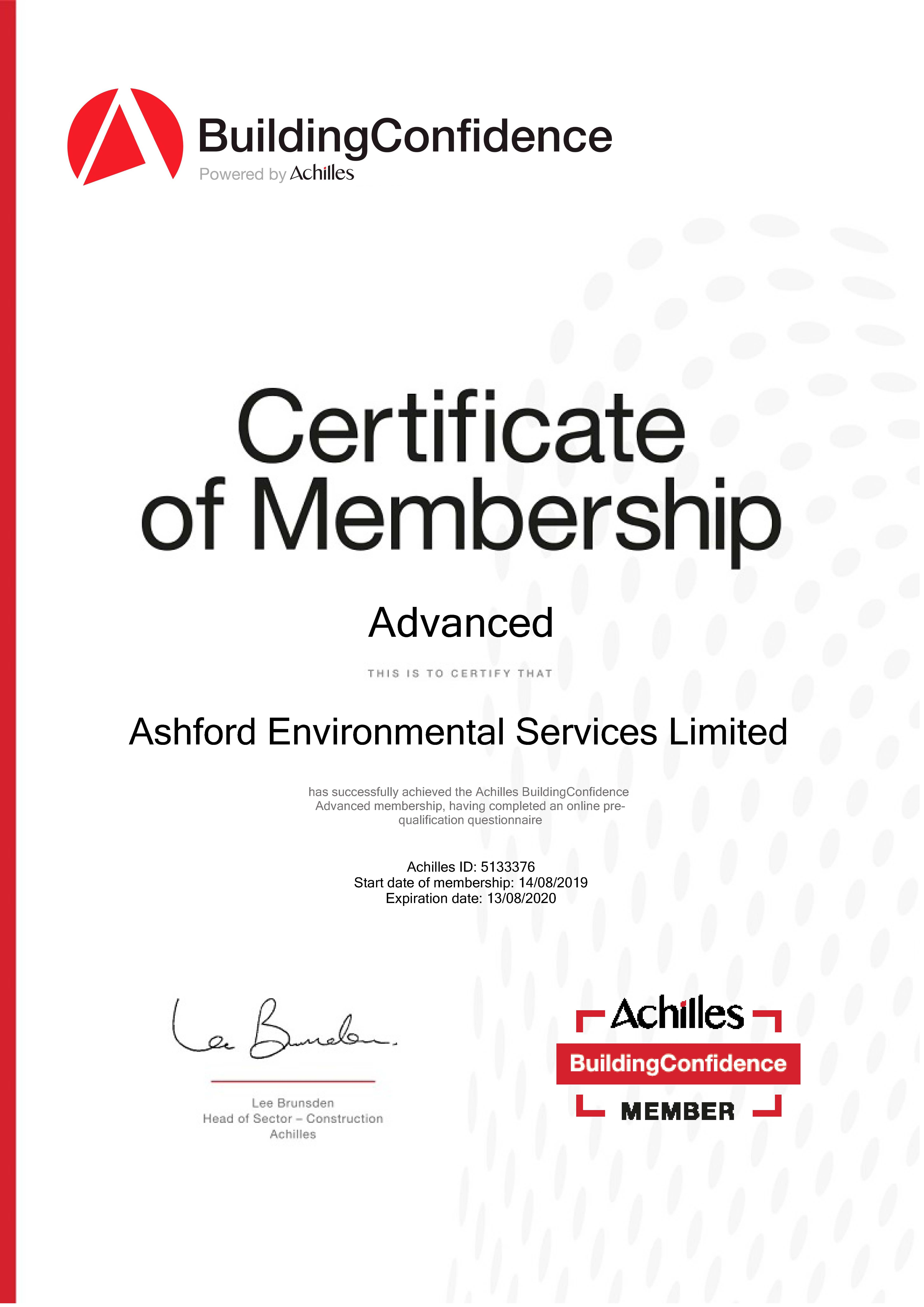Certificate of Membership Building Confidence Advanced Achilles ID 5133376